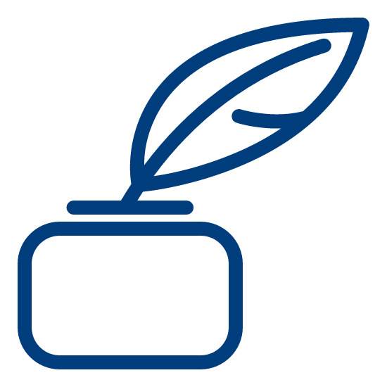 Picture of a quill pen with ink icon