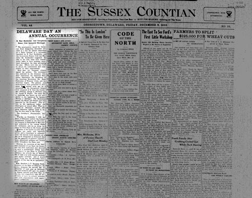 Photo of the Sussex Countian from 1933
