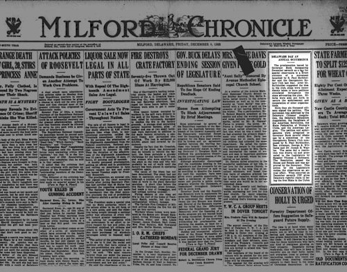 Photo of the Milford Chronicle from 1933