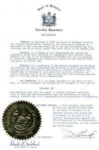 Photo of Governor C. Douglass Buck's Proclamation
